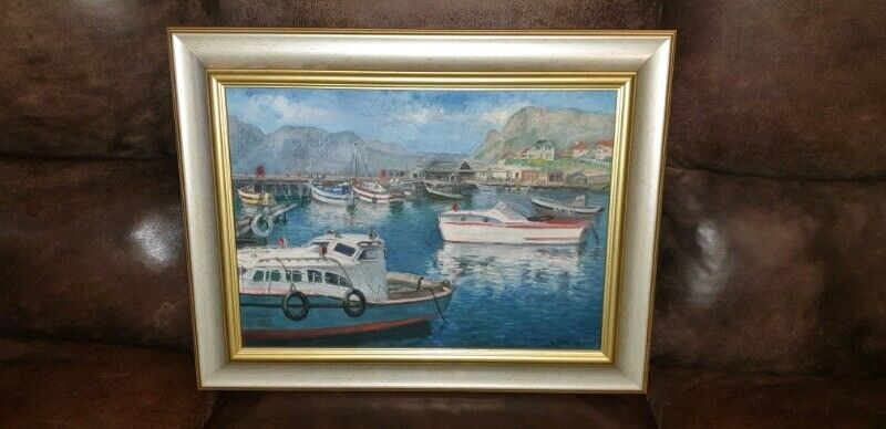 1937 Harbor Oil Painting