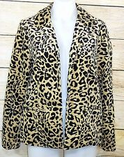 Chico's Sz 0 Leopard Animal Print Women's Blazer Jacket Black 4 6 Velour Light