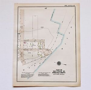 1928 Bronx New York Map Hunts Point East Bay Ave Barretto Cove East
