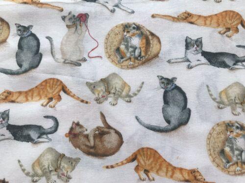 White Cats FQ Fat Quarter Fabric RARE Ginger Grey Black 100/% Cotton Quilting