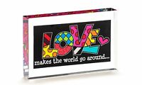 ✿ Romero Britto ✿ Double-sided Glass Table Block: Love Gift Boxed