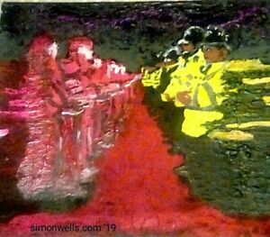 Extinction-Rebellion-red-rebel-brigade-Protest-acrylic-painting-original-police