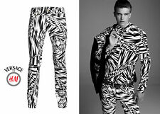 VERSACE x H&M Asymmetric Print Men Pants Slim Fit Jeans Rare Black White EUR32 Y