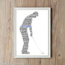 Golfer Personalised Word Art Golf A4 Print Dad Son Sport Gift Keepsake Present