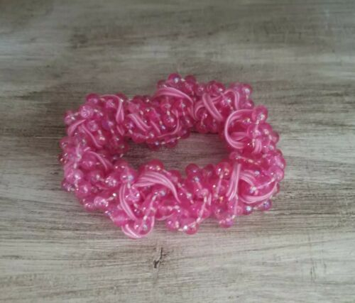 Beautiful RARE Vintage Pink Beaded Scrunchie Stret