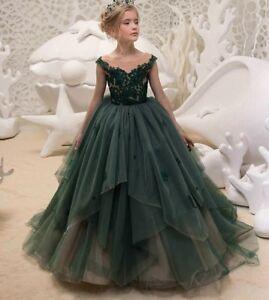 2e2be3ffeab Kids Princess Gown Lace Green Flower Girl Dress Wedding First ...
