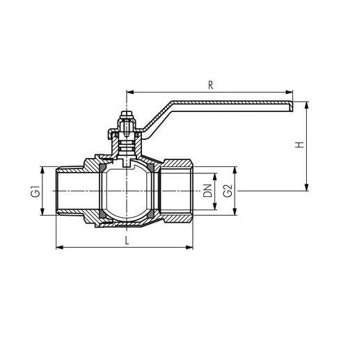 hasta 50 pn examinado DVGW PN 5//Mop 5 Einschraub-válvula esférica en 331 llave de gas