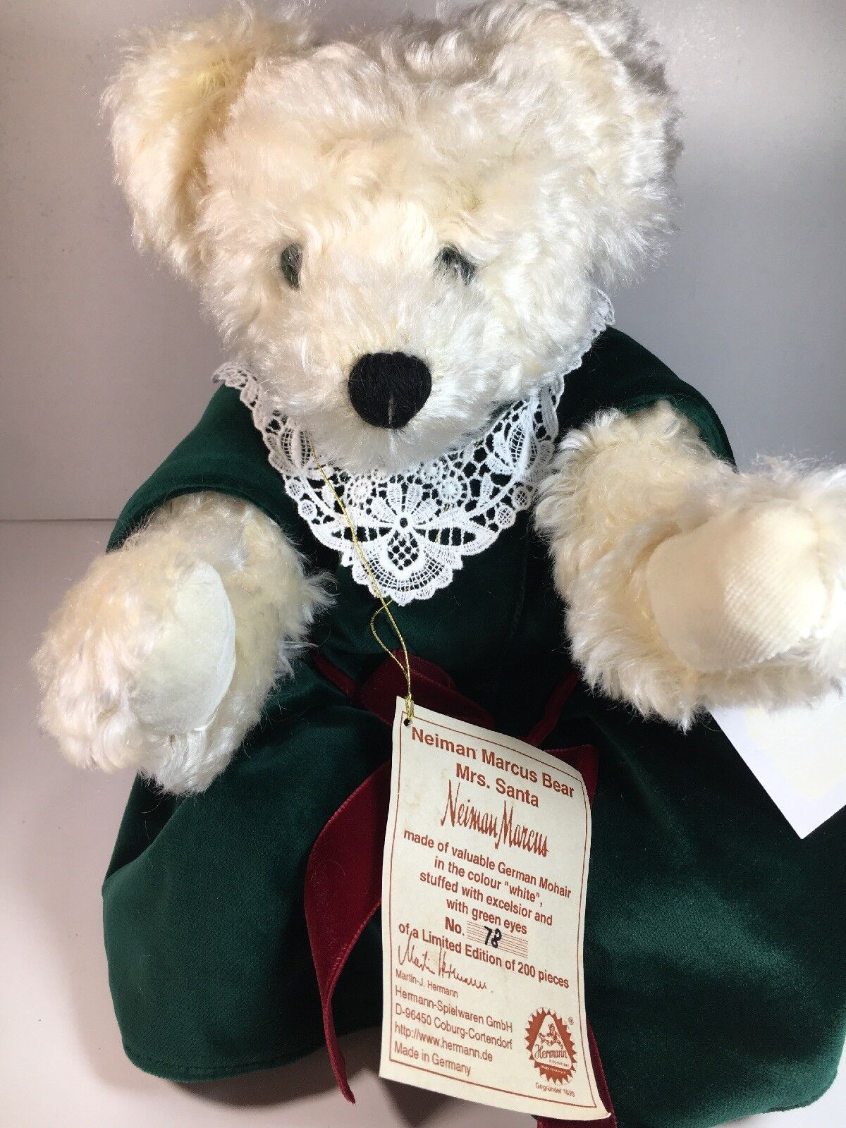 "Limited Edition Hermann Bear Mrs Santa Neiman Marcus NWT Super Rare 16"" Mohair"