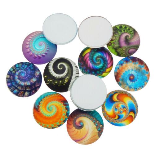 20pcs//pack Round 8-20mm Spiral Fireworks Glass Flatback Cabochon DIY Accessories