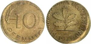 Frg 10 Pfennig 1971 D Lack Coinage: On 5 Pf. Schrötling, Dezentriert XF