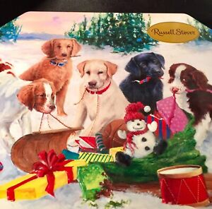 Russell-Stover-Candy-Tin-Empty-Christmas-Embossed-Puppies-Dogs-Collectible