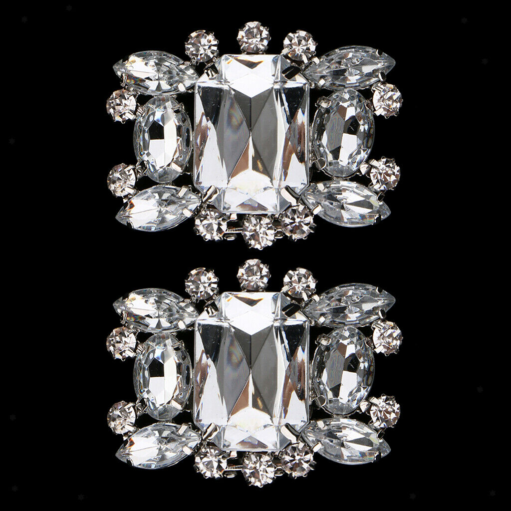 1 Pair Rhinestone Crystal Shoe Charms Clips Wedding Party Shoe Buckles