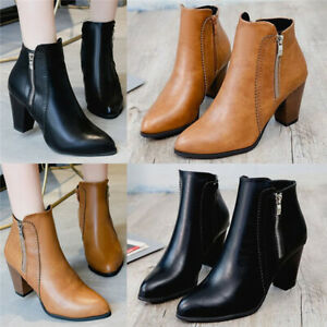 Ladies-Women-Smart-High-Heel-Block-Cowboy-Style-Zip-Ankle-Boots-Comfy-Shoes-Size