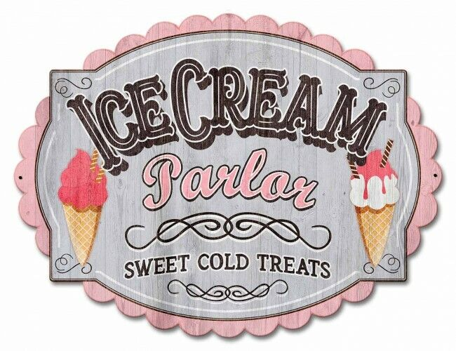 Ice Cream Parlor Sweet Cold Treats Plasma Cut Metal Sign