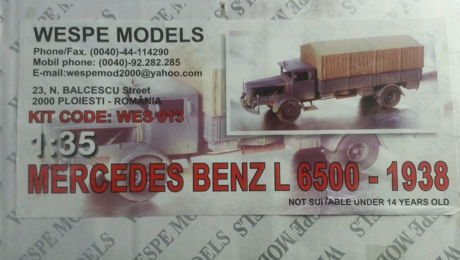1 35 Wespe models mercedes benz l6500-1938