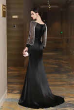 Black Long Mermaid Formal Prom Dresses Party Ball Evening Pageant Wedding Gown