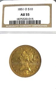 WOW_1851-O, NEW ORLEANS $10.00 U.S. EAGLE GOLD COIN NGC AU-55 BOLD REVERSE