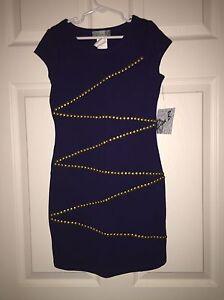 e8d2cfddd87ee NWT ELISA B GIRLS DESIGNER FASHION Navy SHORT DRESS GOLD STUD DESIGN ...