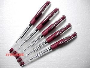5-x-Uni-Ball-Signo-UM-151-0-38mm-Point-Gel-Ink-Rollerball-pens-Bordeaux-Black