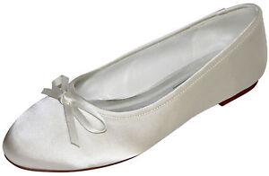 HBH-flache-Ballerinas-Satin-Brautschuhe-mit-einer-Schleife-verziert-1cm-Absatz