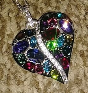 Brighton-Trust-Your-Journey-Heart-Necklace-MULTI-Swarovski-Crystals-Tags-amp-Pouch