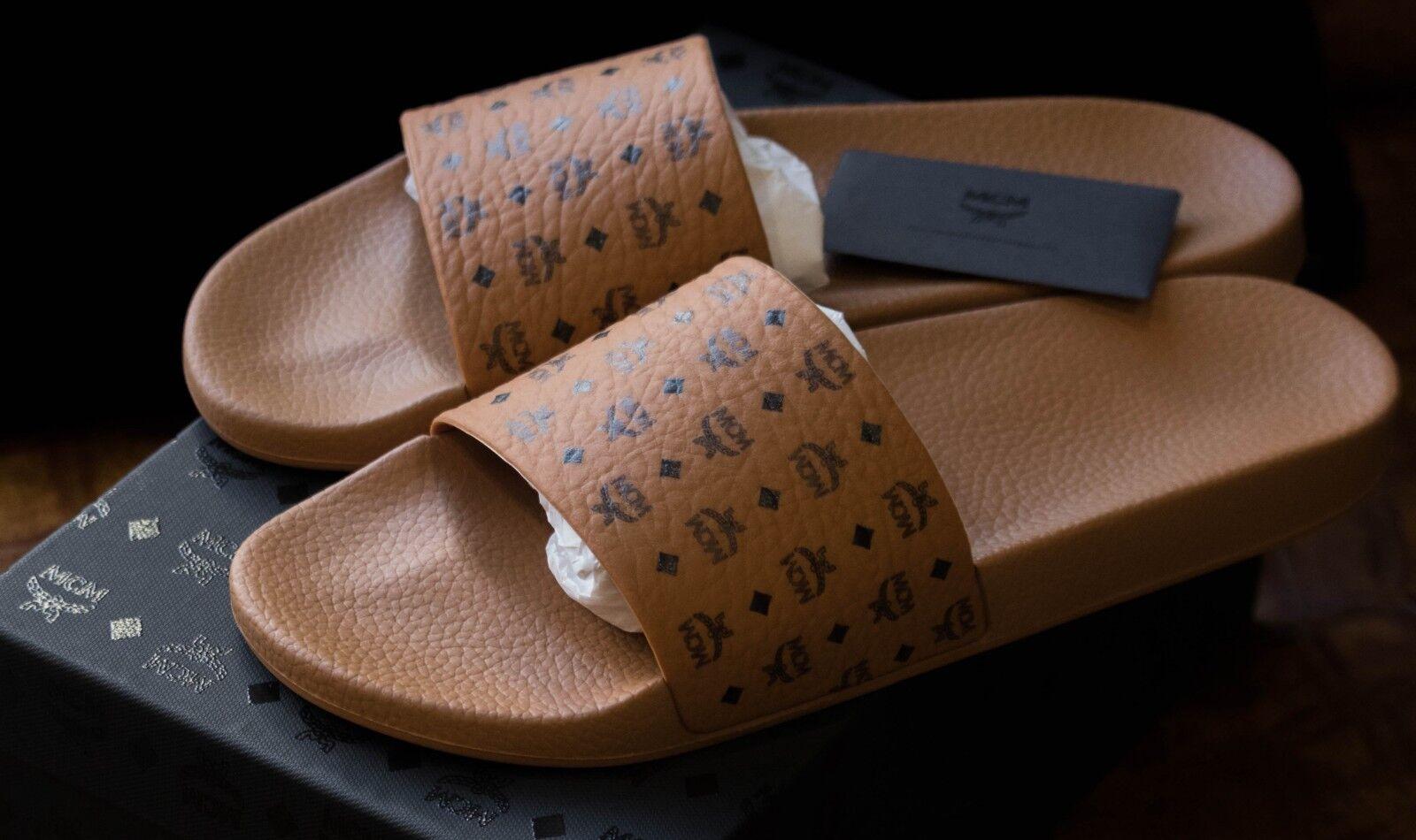NIB NIB NIB  100% AUTHENTIC MCM Visetos Slide Sandals (MENS SIZE 13 BUT FITS SIZE 12) 814b1f