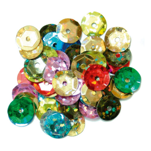 5x Sequins Cup Holographic 8mm Multi-coloured Sewing Craft Tool Hobby