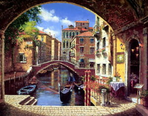 Wall-Decor-Print-Beautiful-Venice-Oil-painting-Art-Giclee-Printed-on-canvas-P063