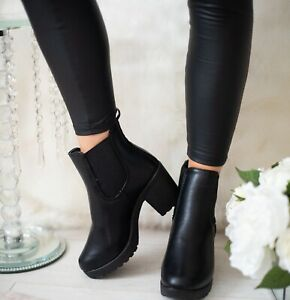 Ladies Women Chelsea Ankle Block High Heels Chunky Platform Boots Shoes Size 3-8