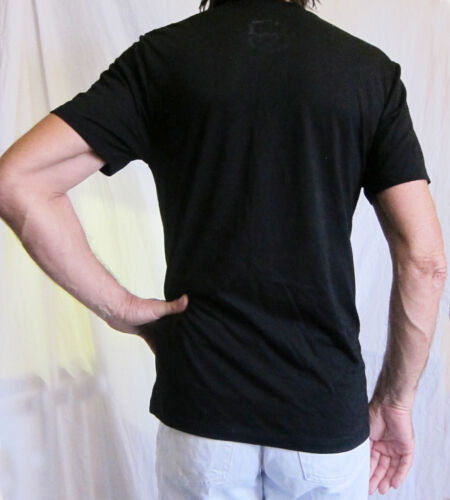 BLACK or GREY T shirt with red tie//pinstripes// braces printed on it size M//L new