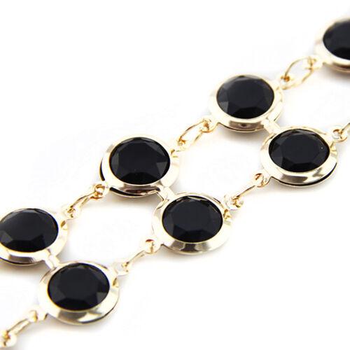 Perles Noires avec réglable en métal doré Chaîne Charme Ceinture pour femmes robe stylée