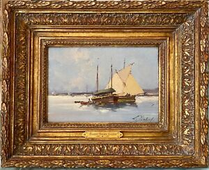 French-Harbor-Boats-E-Galien-Laloue-listed-oil-on-Bd-Certified-By-Noe-WILLER