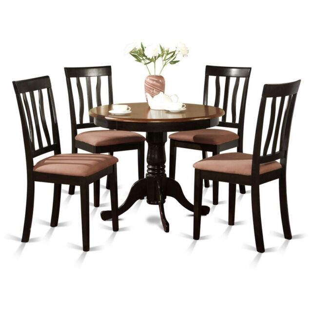 east west furniture anti5 blk c 5 piece kitchen table set black rh ebay com Chess Table Cherry Finish Coffee Tables