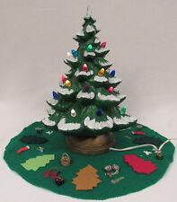 "VINTGE 1960s CERAMIC LIGHT UP CHRISTMAS TREE FLOCKED WITH SKIRT 15 1/2"" TALL"