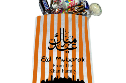 Eid Mubarak personalised sweet bags 5x7 inch Printed Party Bags Ramadan.