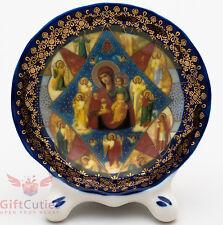 Porcelain gzhel decal plaque Icon Our Lady of Burning bush Неопалимая Купина