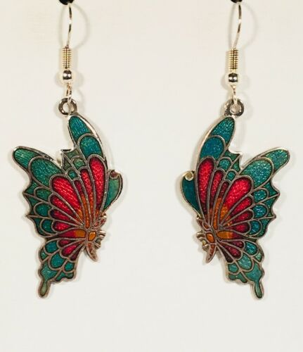 BUTTERFLY Dangle Earrings Stefano Vintage Cloisonne Silver Plate Factory Prices