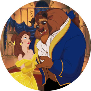 Personalised Beauty /& The Beast edible printed  icing Round Cake Topper Pre-Cut2