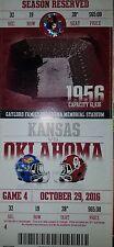 OU Oklahoma Sooners vs Kansas Jayhawks Ticket Stub