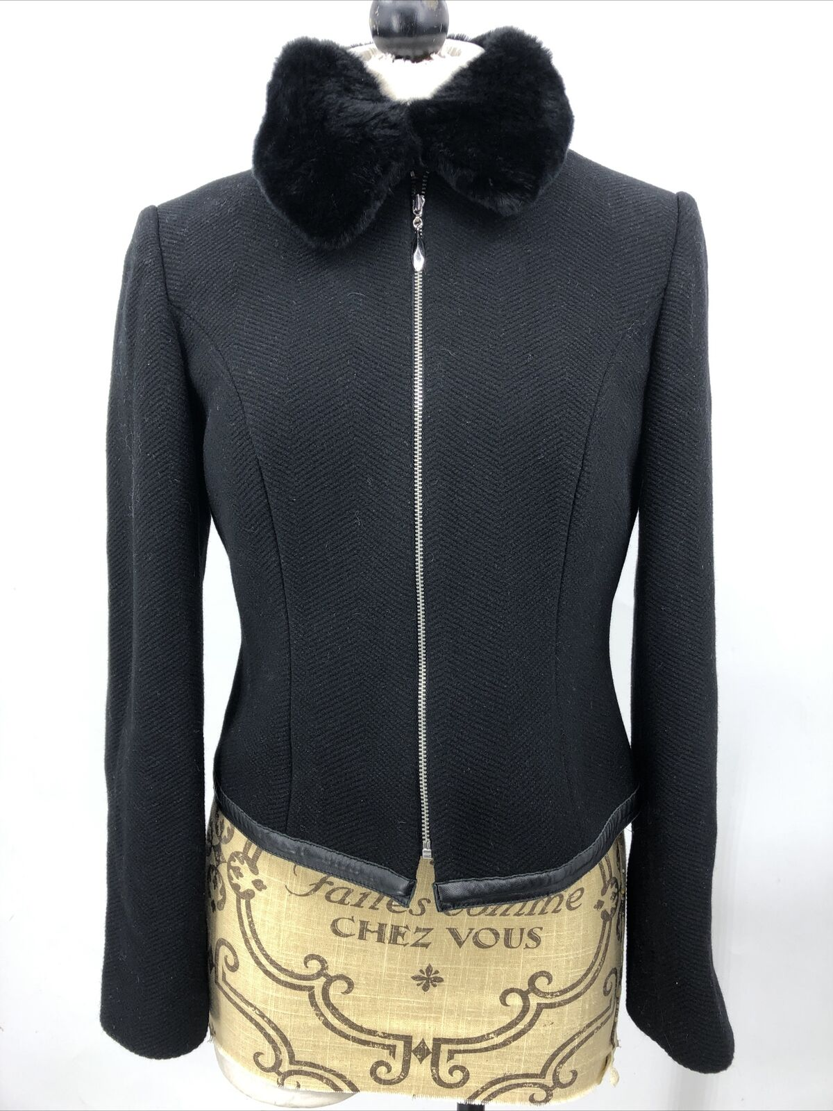 Etc Women's Jacket Black Wool Cashmere Zip Up Leather Trim Removeable Collar 4