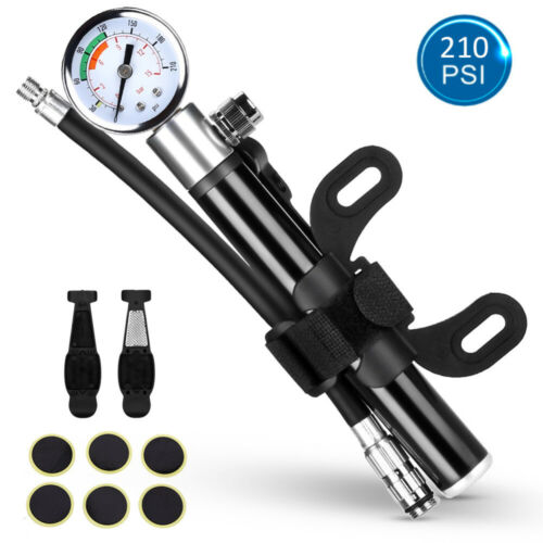 Portable Mini Bike Bicycle Tire Tyre Pump Up to 210 PSI Gauge Road Air Inflator