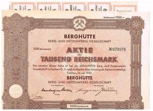 Berghuette-Berg-und-Huettenwerks-Ges-Teschen-Tschechien-1942-1000-RM-ungel