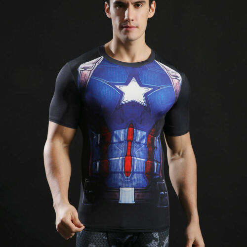 Mens 3D Marvel Superhero T Shirt Compression Base Layers Short Sleeve Tops Tee