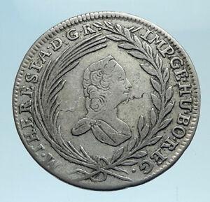 1765-AUSTRIA-Queen-Maria-Theresa-Genuine-Antique-10-Kreuzer-Austrian-Coin-i78254
