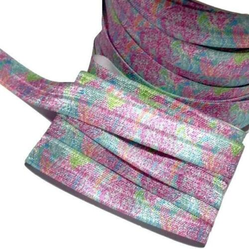 "orange /& aqua floral print 5//8/"" fold over elastic FOE 10 Yards Pink"