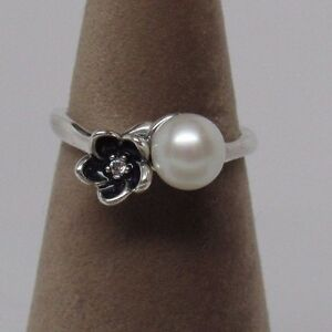 Adroit New W/box Pandora Mystic Floral W/pearl & Enamel Stackable Ring #190924p Luxuriant In Design