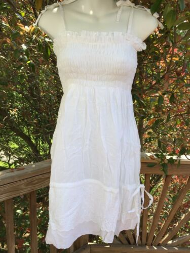 L//XL/_New Boho Peasant Tiered Smocked White Cotton Embroidered Dress/_Sizes S//M