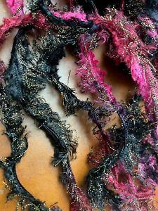 Ribbon Metallic Nylon Black Magenta Pink Gold Ombre Novelty 10yds Made in Turkey