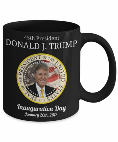 Donald J Trump 45th President Inauguration Day Black Mug Coffee Tea Cocoa Cup 11