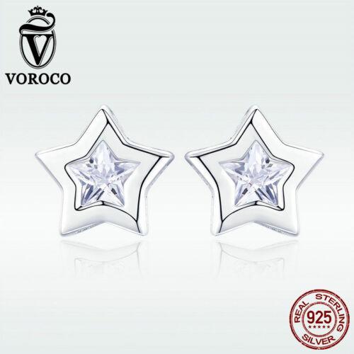 Voroco de Noël argent sterling 925 Oreille Boucles D/'oreilles Clou Étoile Zircon Cubique Femmes Clignotant Bijoux